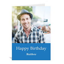 Classic Blue Photo Birthday Cards, 5x7 Portrait Folded Simple