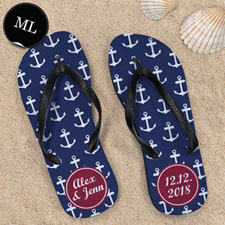 Blue and White Anchors Red Monogram, Men Large