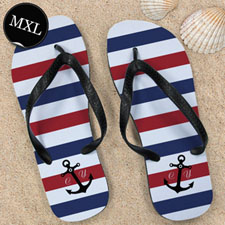 Navy Red White Stripes Anchor, Men X-Large