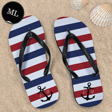 Navy Red White Stripes Anchor, Men Large