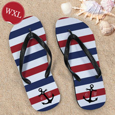 Blue and White Anchors Red Monogram, Women X-Large_copy