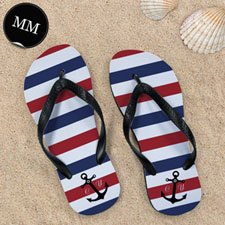 Navy Red White Stripes Anchor, Men Medium