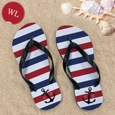 Blue and White Anchors Red Monogram, Women Large_copy
