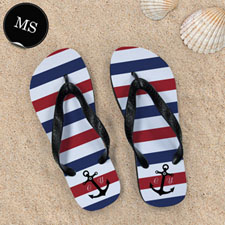 Navy Red White Stripes Anchor, Men Small