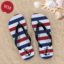 Blue and White Anchors Red Monogram, Women Medium_copy