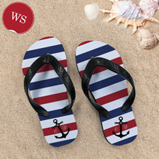 Navy Red White Stripes Anchor, Women Small