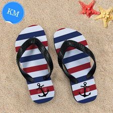 Navy Red White Stripes Anchor Kid's Medium