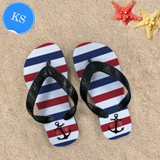 Navy Red White Stripes Anchor,Kid's Small