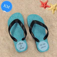 Design My Own Aqua Damask Personalized Flip Flops, Kid Medium Flip Flops