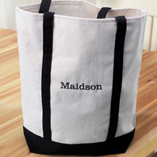 Personalized Black Embroidered Tote (Medium) Bag