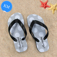 Design My Own Personalized Silver Grey Polka Dots Kids Medium Flip Flops