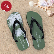 da9cb4902 Create My Own Personalized Wedding Palm Tree Women Medium Flip Flop Sandals