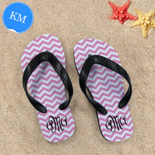 Design My Own Pink Chevron Pattern With Personalized Name ,Kid's Medium Flip Flops
