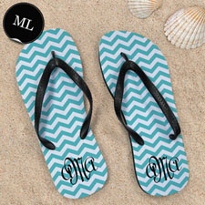 Aqua Chevron Pattern with Personalized Name , Men Large