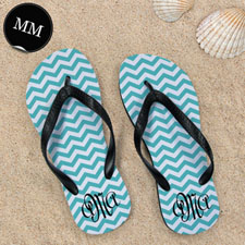 Design My Own Aqua Chevron Pattern With Personalized Name, Men Medium Flip Flop Sandals