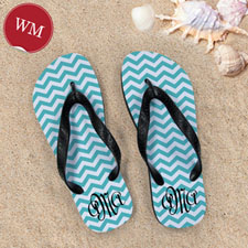 Create My Own Aqua Chevron Pattern With Personalized Name, Women Medium Flip Flop Sandals