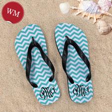Create My Own Aqua Chevron Pattern With Personalized Name, Women Medium Flip Flop Sandals