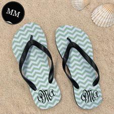 Design My Own Personalized Green Chevron Zigzag, Men's Medium Flip Flop Sandals
