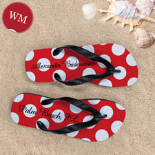 Design My Own Red Polka Dot Personalized Name, Women's Medium Flip Flop Sandals