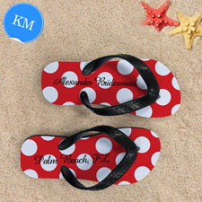 Design My Own Red Polka Dot Personalized Name, Kid's Medium Flip Flops