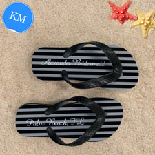 Design My Own Chic Black Stripes With Name, Kids' Medium Flip Flops