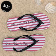 Design My Own Carol White Stripes Custom Name, Men's Medium Flip Flop Sandals