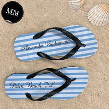 Design My Own Customizable Nautical Blue Stripes ,Men's Medium Flip Flop Sandals