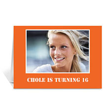 Classic Orange Photo Birthday Cards, 5x7 Folded