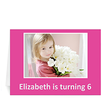 Hot Pink Photo Birthday Cards, 5x7 Folded