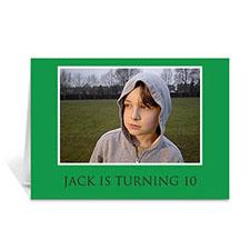 Classic Green Photo Birthday Cards, 5x7 Folded