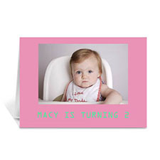Baby Pink Photo Birthday Cards, 5x7 Folded