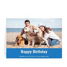 Classic Blue Photo Birthday Cards, 5x7 Folded Simple