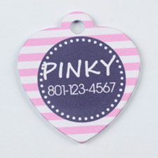 Pink and Gray Stripes Pattern Heart (Custom 1 Side)