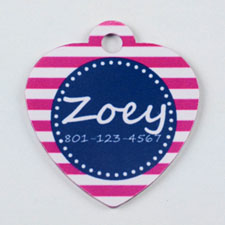 Bright Pink and Gray Stripes Pattern Heart (Custom 1 Side)