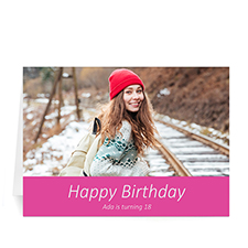 Hot Pink Photo Birthday Cards, 5x7 Simple