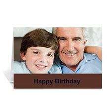 Chocolate Brown Photo Birthday Cards, 5x7 Folded Simple