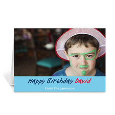 Baby Blue Photo Birthday Cards, 5x7 Folded Simple
