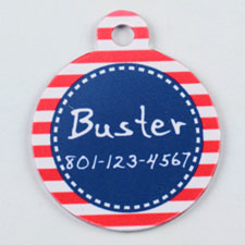 Red and Navy Stripes Pattern Round (Custom 1 Side)