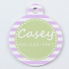 Purple and Lime Stripes Pattern Round (Custom 1 Side)