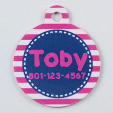 Bright Pink and Gray Stripes Pattern Round (Custom 1 Side)