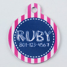 Bright Pink and Gray Striped Round (Custom 1 Side)