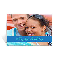 Classic Blue Photo Birthday Cards, 5x7 Folded Causal