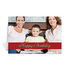 Classic Red Photo Birthday Cards, 5x7 Folded Causal