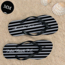 Design My Own Chic Black Stripes With Name, Men's Medium Flip Flop Sandals