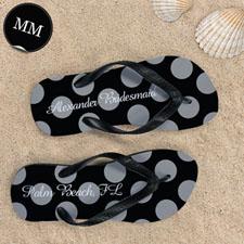 Design My Own Customizable Black Polka Dot ,Men's Medium Flip Flop Sandals