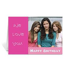 Hot Pink Photo Birthday Cards, 5x7 Folded Modern