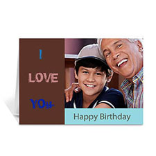Chocolate Brown Photo Birthday Cards, 5x7 Folded Modern