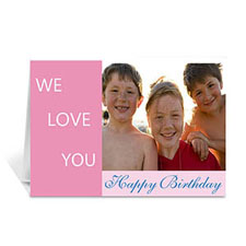 Baby Pink Photo Birthday Cards, 5x7 Folded Modern