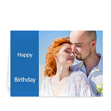 Classic Blue Photo Birthday Cards, 5x7 Folded Modern
