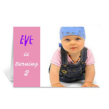Baby Pink Photo Birthday Cards, 5x7 Folded Modern